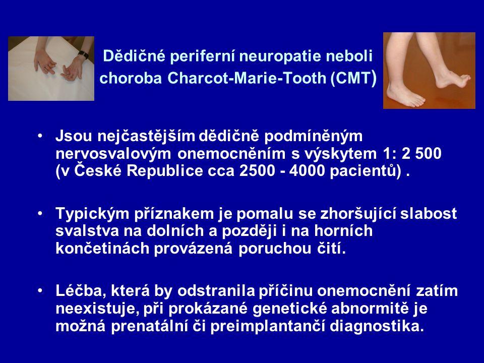 Dědičné periferní neuropatie neboli choroba Charcot-Marie-Tooth (CMT ) Jsou nejčastějším dědičně podmíněným nervosvalovým onemocněním s výskytem 1: 2 500 (v České Republice cca 2500 - 4000 pacientů).