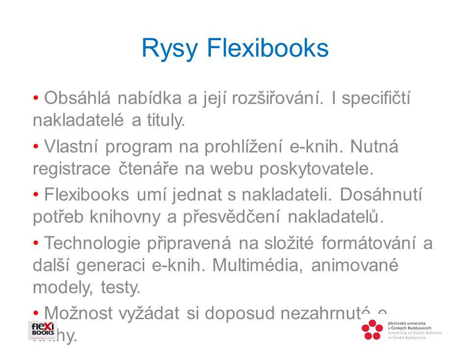 Rysy Flexibooks Obsáhlá nabídka a její rozšiřování.