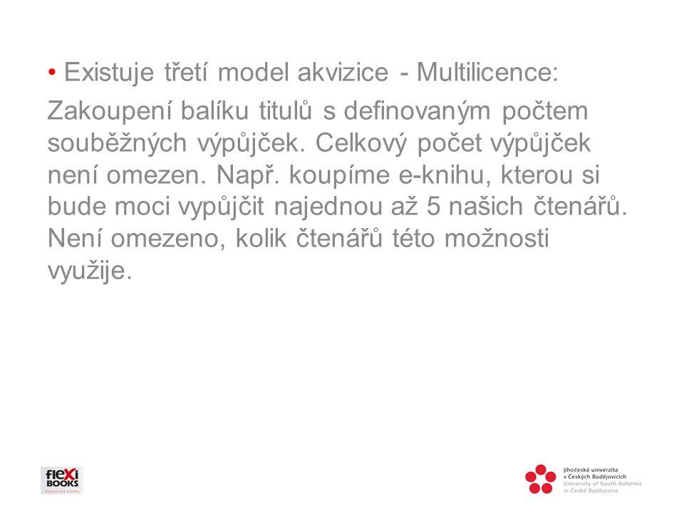 Existuje třetí model akvizice - Multilicence: Zakoupení balíku titulů s definovaným počtem souběžných výpůjček.