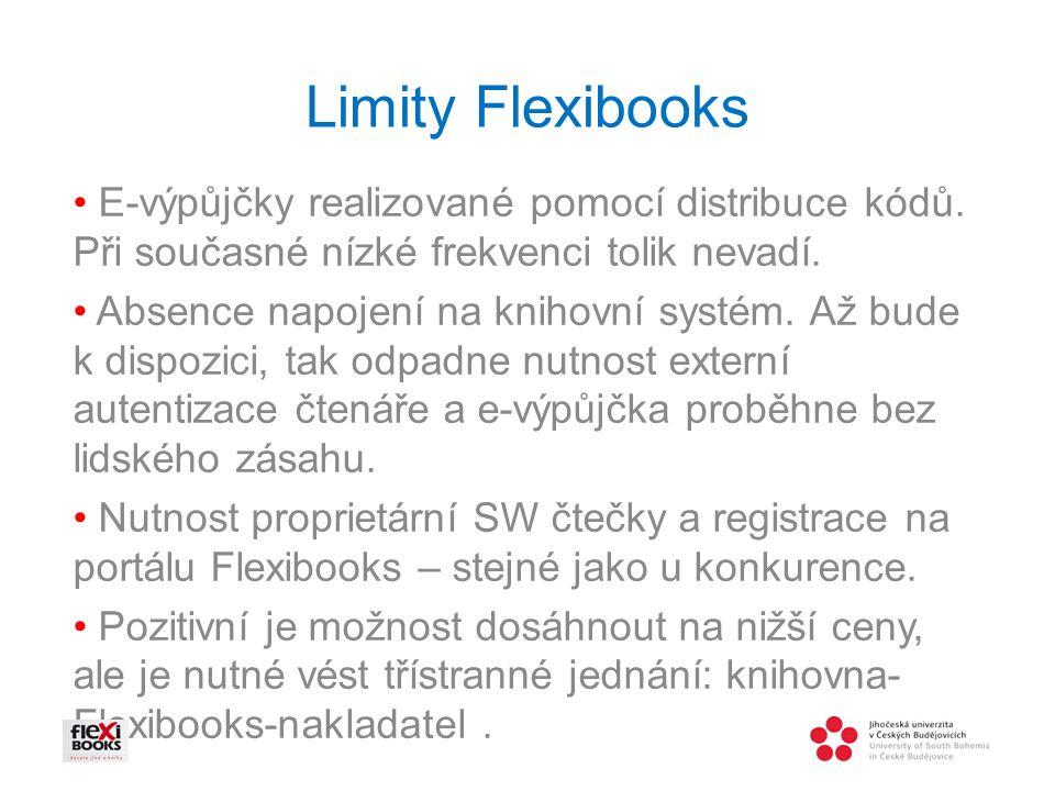 Limity Flexibooks E-výpůjčky realizované pomocí distribuce kódů.