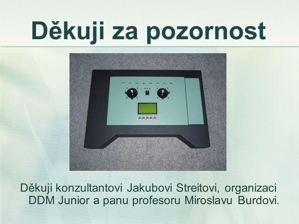 Děkuji za pozornost Děkuji konzultantovi Jakubovi Streitovi, organizaci DDM Junior a panu profesoru Miroslavu Burdovi.