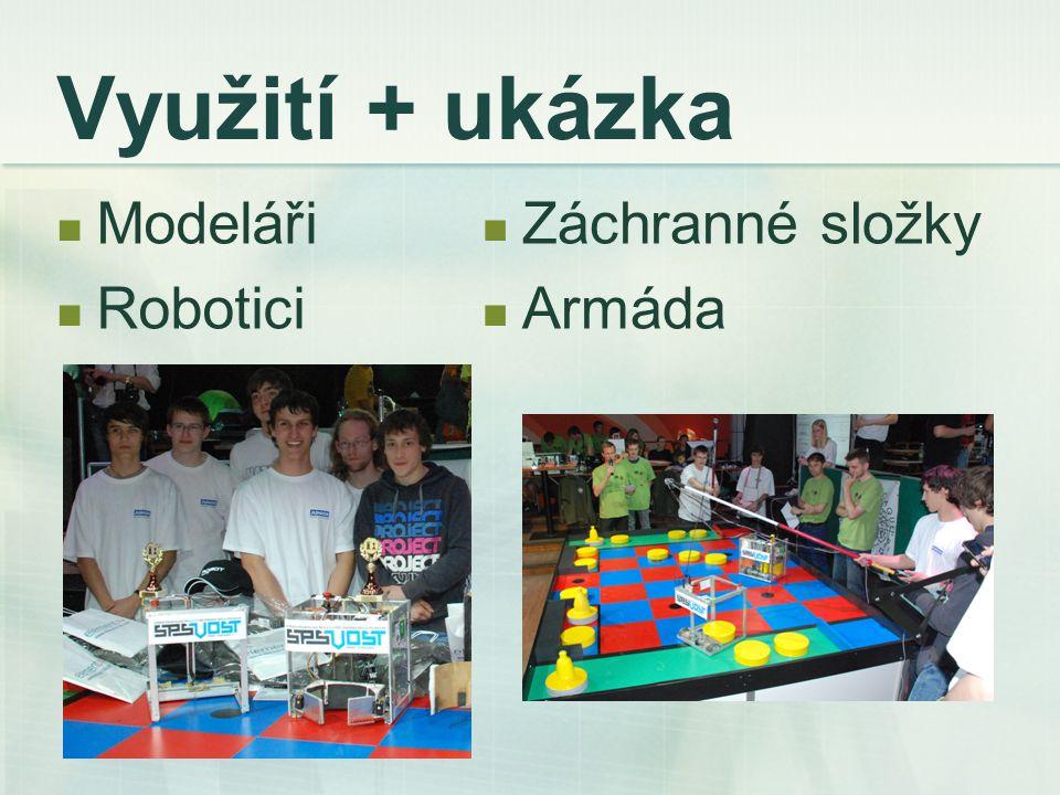 Využití + ukázka Modeláři Robotici Záchranné složky Armáda