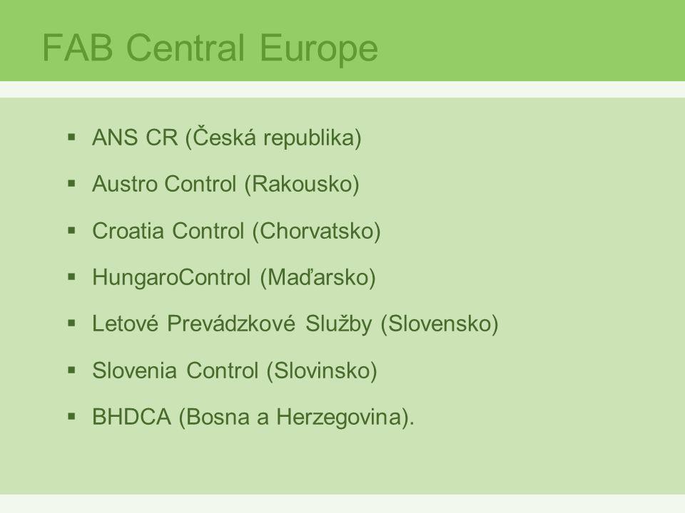 FAB Central Europe  ANS CR (Česká republika)  Austro Control (Rakousko)  Croatia Control (Chorvatsko)  HungaroControl (Maďarsko)  Letové Prevádzkové Služby (Slovensko)  Slovenia Control (Slovinsko)  BHDCA (Bosna a Herzegovina).