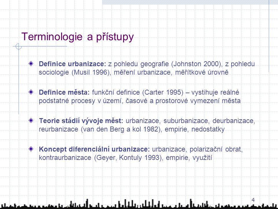 4 Terminologie a přístupy Definice urbanizace: z pohledu geografie (Johnston 2000), z pohledu sociologie (Musil 1996), měření urbanizace, měřítkové úr