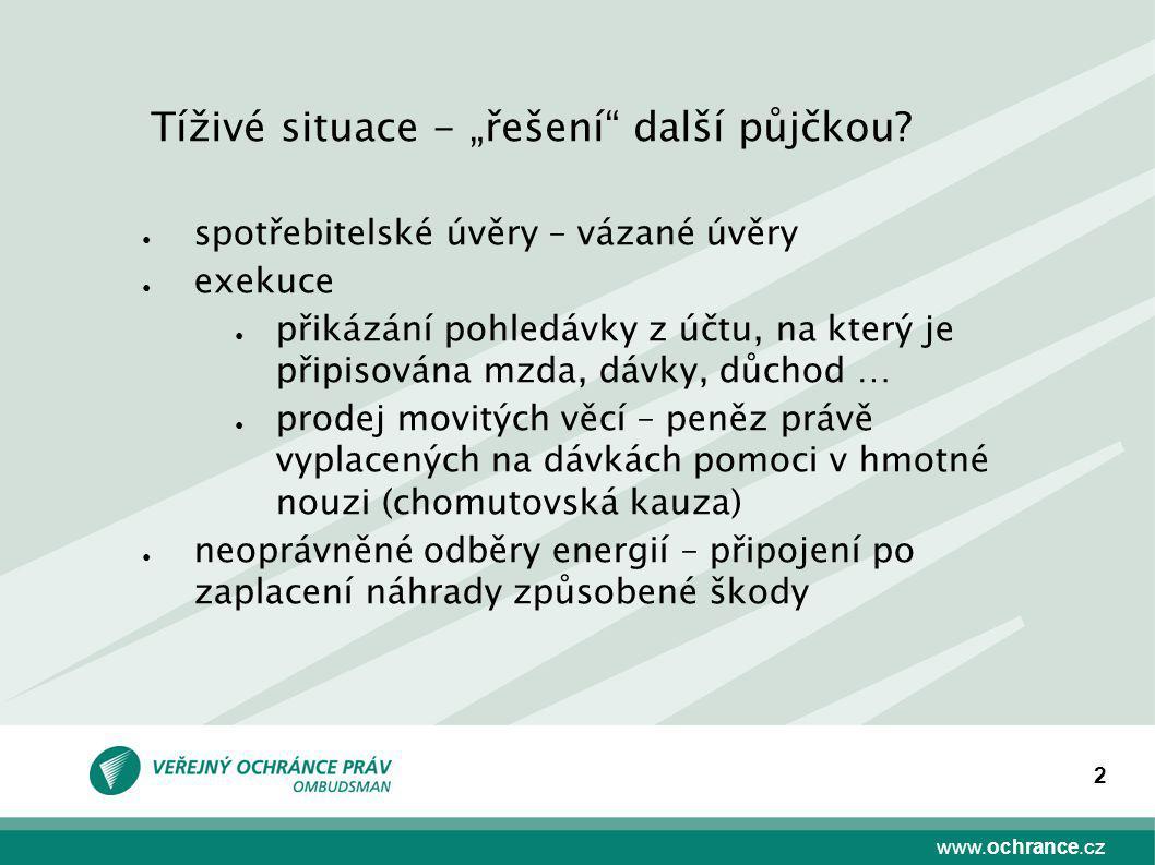 """www.ochrance.cz 2 Tíživé situace - """"řešení"""" další půjčkou? ● spotřebitelské úvěry – vázané úvěry ● exekuce ● přikázání pohledávky z účtu, na který je"""