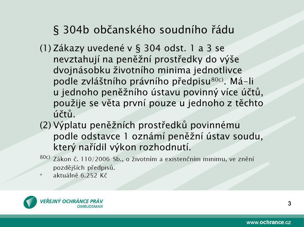 www.ochrance.cz 3 (1)Zákazy uvedené v § 304 odst. 1 a 3 se nevztahují na peněžní prostředky do výše dvojnásobku životního minima jednotlivce podle zvl