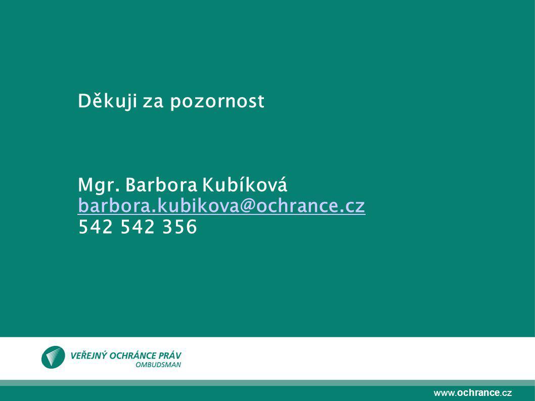 www.ochrance.cz Mgr. Barbora Kubíková barbora.kubikova@ochrance.cz 542 542 356 Děkuji za pozornost