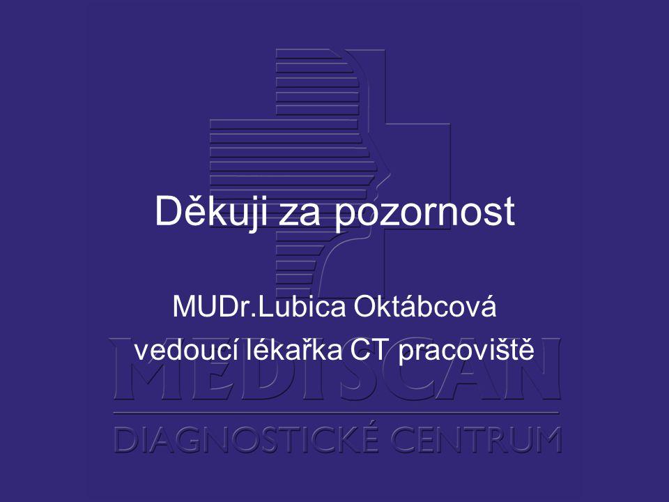 Děkuji za pozornost MUDr.Lubica Oktábcová vedoucí lékařka CT pracoviště