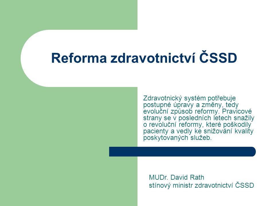 Reforma zdravotnictví ČSSD Zdravotnický systém potřebuje postupné úpravy a změny, tedy evoluční způsob reformy.