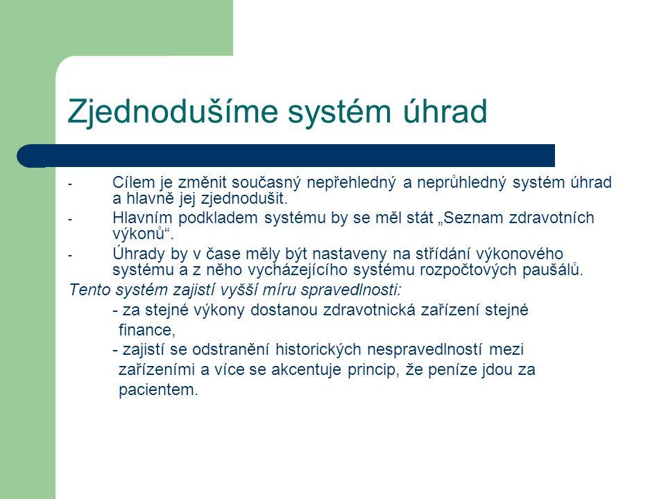 Zjednodušíme systém úhrad - Cílem je změnit současný nepřehledný a neprůhledný systém úhrad a hlavně jej zjednodušit.