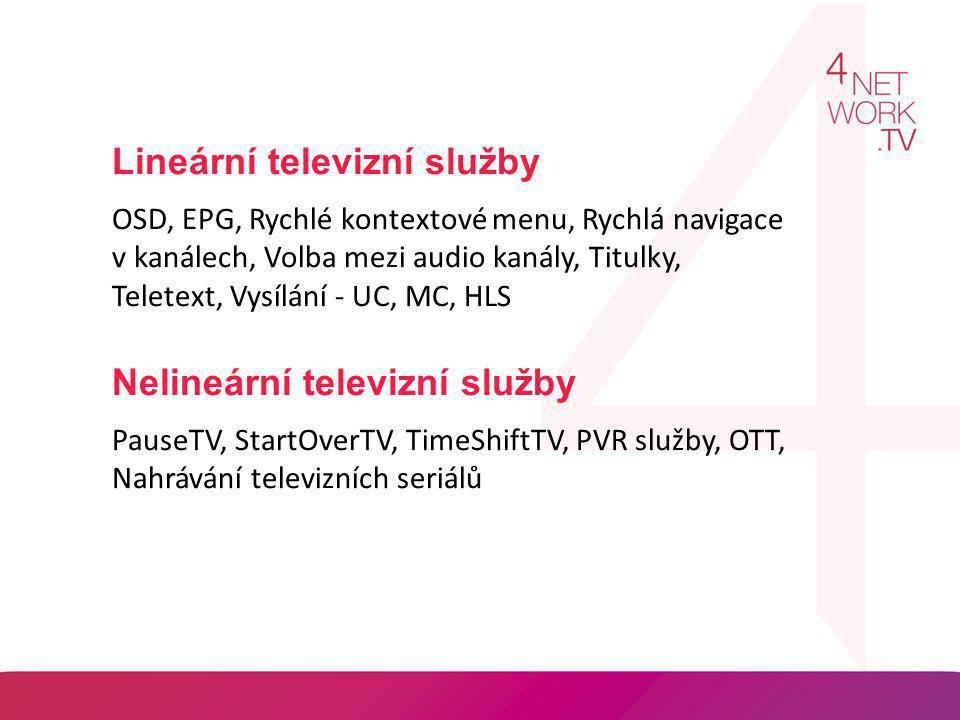 Lineární televizní služby OSD, EPG, Rychlé kontextové menu, Rychlá navigace v kanálech, Volba mezi audio kanály, Titulky, Teletext, Vysílání - UC, MC,