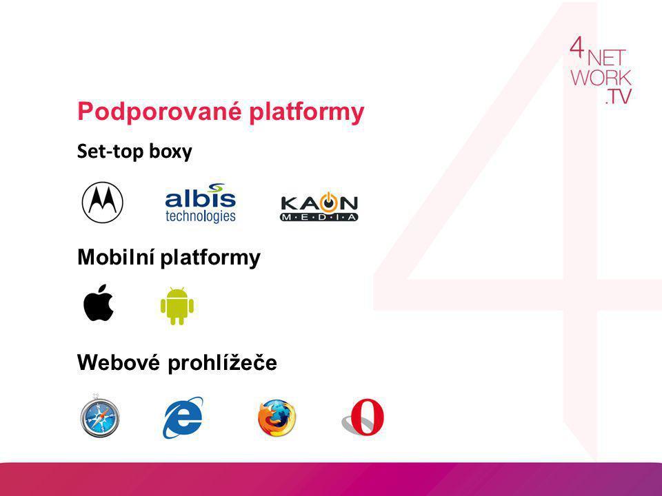 Podporované platformy Set-top boxy Mobilní platformy Webové prohlížeče