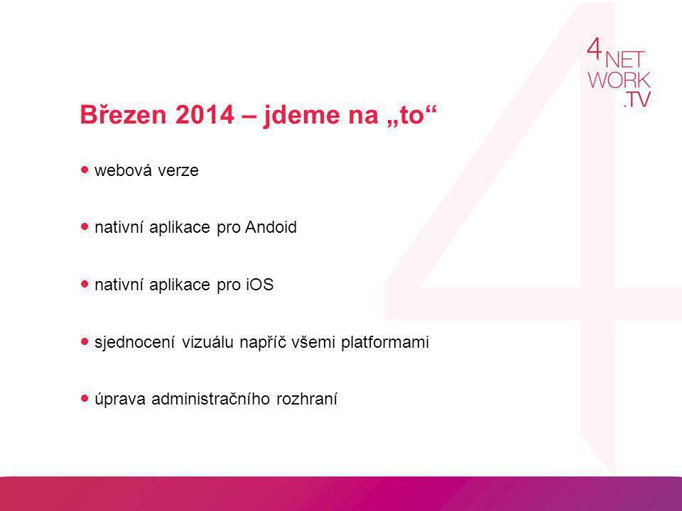 """Březen 2014 – jdeme na """"to"""" ● webová verze ● nativní aplikace pro Andoid ● nativní aplikace pro iOS ● sjednocení vizuálu napříč všemi platformami ● úp"""