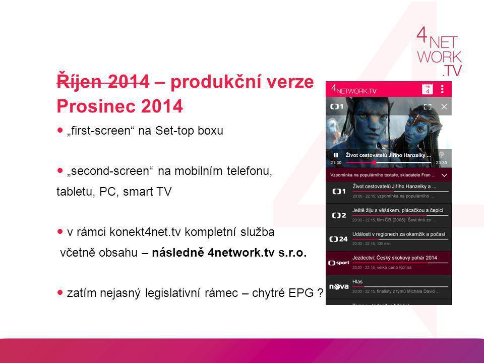 """Říjen 2014 – produkční verze Prosinec 2014 ● """"first-screen"""" na Set-top boxu ● """"second-screen"""" na mobilním telefonu, tabletu, PC, smart TV ● v rámci ko"""
