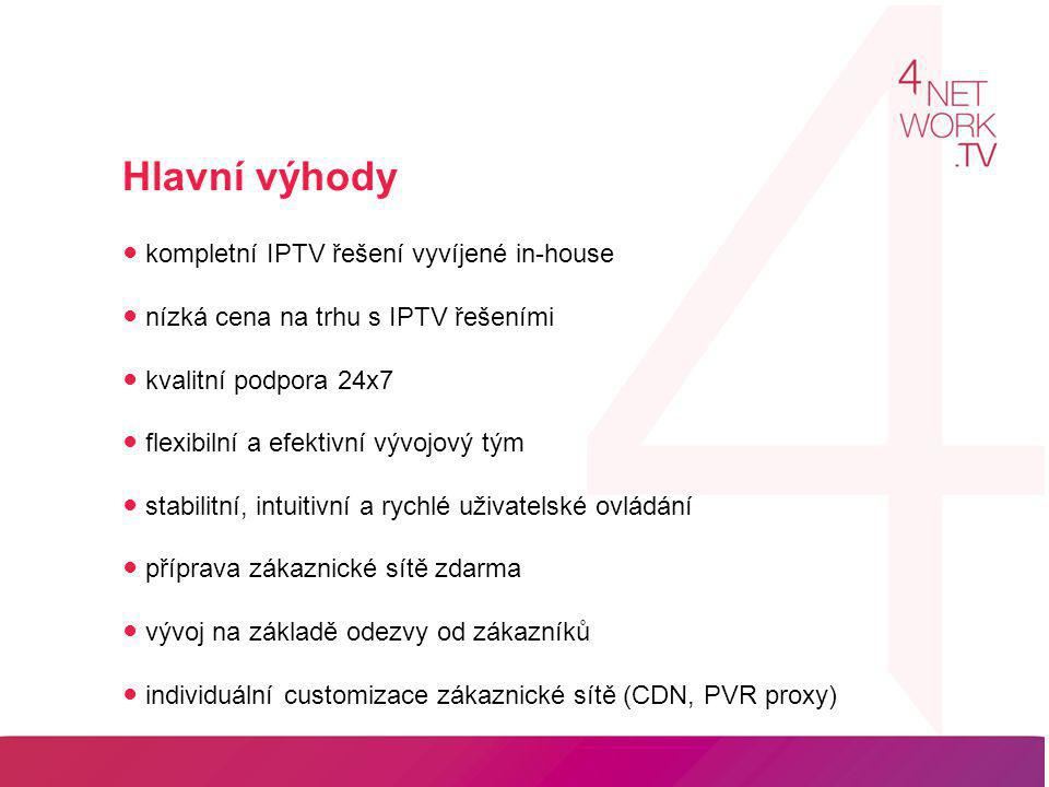 Hlavní výhody ● kompletní IPTV řešení vyvíjené in-house ● nízká cena na trhu s IPTV řešeními ● kvalitní podpora 24x7 ● flexibilní a efektivní vývojov