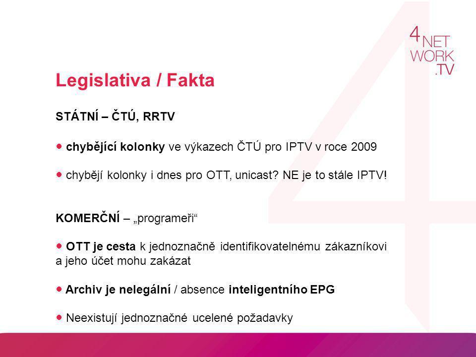 Legislativa / Fakta STÁTNÍ – ČTÚ, RRTV ● chybějící kolonky ve výkazech ČTÚ pro IPTV v roce 2009 ● chybějí kolonky i dnes pro OTT, unicast? NE je to st