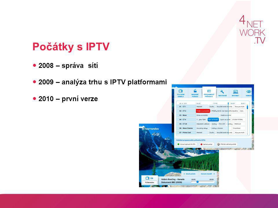 Počátky s IPTV ● 2008 – správa sítí ● 2009 – analýza trhu s IPTV platformami ● 2010 – první verze