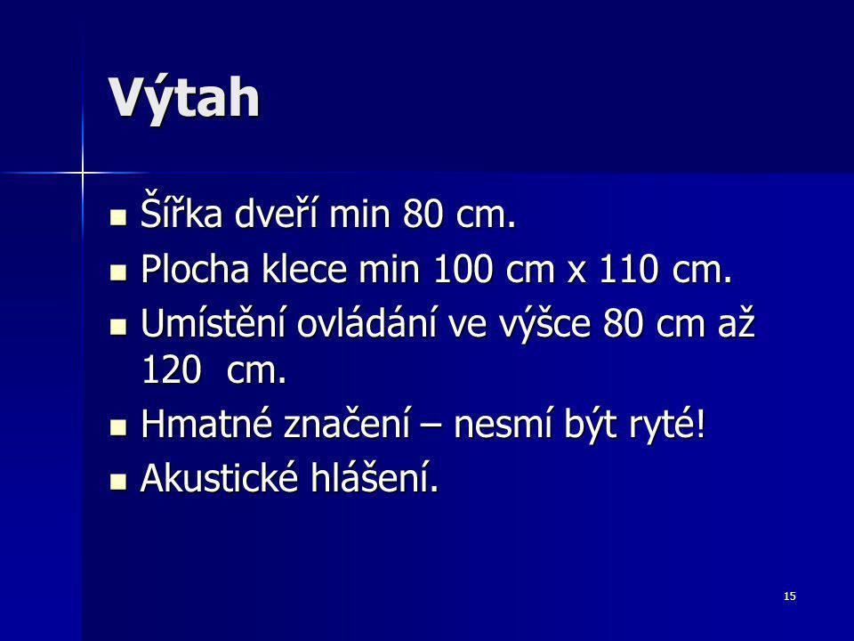 15 Výtah Šířka dveří min 80 cm.Šířka dveří min 80 cm.