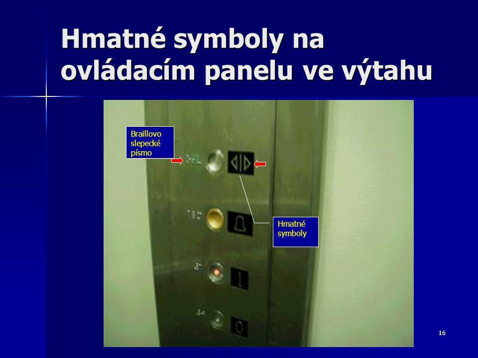 16 Hmatné symboly na ovládacím panelu ve výtahu Braillovo slepecké písmo Hmatné symboly