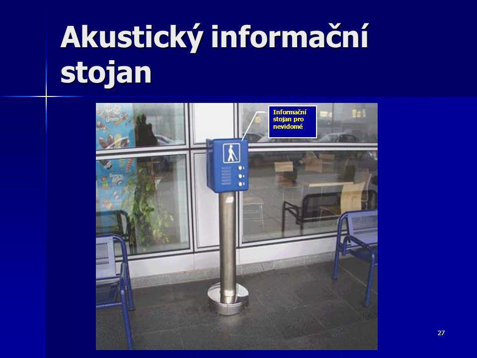 27 Akustický informační stojan Informační stojan pro nevidomé