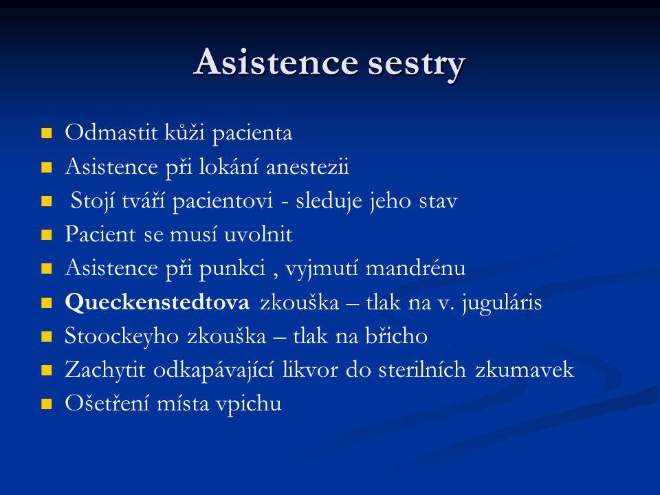 Asistence sestry Odmastit kůži pacienta Asistence při lokání anestezii Stojí tváří pacientovi - sleduje jeho stav Pacient se musí uvolnit Asistence př