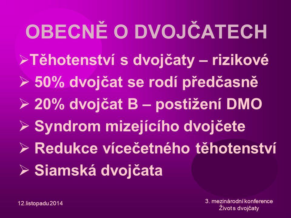 12.listopadu 2014 OBECNĚ O DVOJČATECH  Těhotenství s dvojčaty – rizikové  50% dvojčat se rodí předčasně  20% dvojčat B – postižení DMO  Syndrom mi