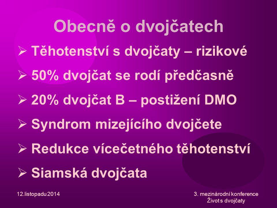  Syndrom mizejícího dvojčete  Amniocentéza  TTTS  Postižení jednoho z plodů  Úmrtí jednoho z plodů/obou plodů  Důsledek pro přeživší dvojče – o 20% vyšší riziko DMO 12.