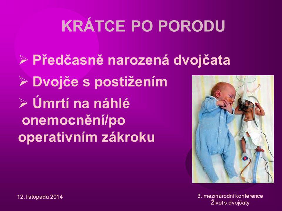 12. listopadu 2014 3. mezinárodní konference Život s dvojčaty KRÁTCE PO PORODU  Předčasně narozená dvojčata  Dvojče s postižením  Úmrtí na náhlé on