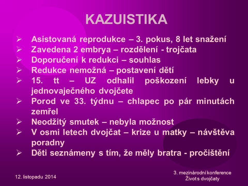 12. listopadu 2014 3. mezinárodní konference Život s dvojčaty KAZUISTIKA  Asistovaná reprodukce – 3. pokus, 8 let snažení  Zavedena 2 embrya – rozdě