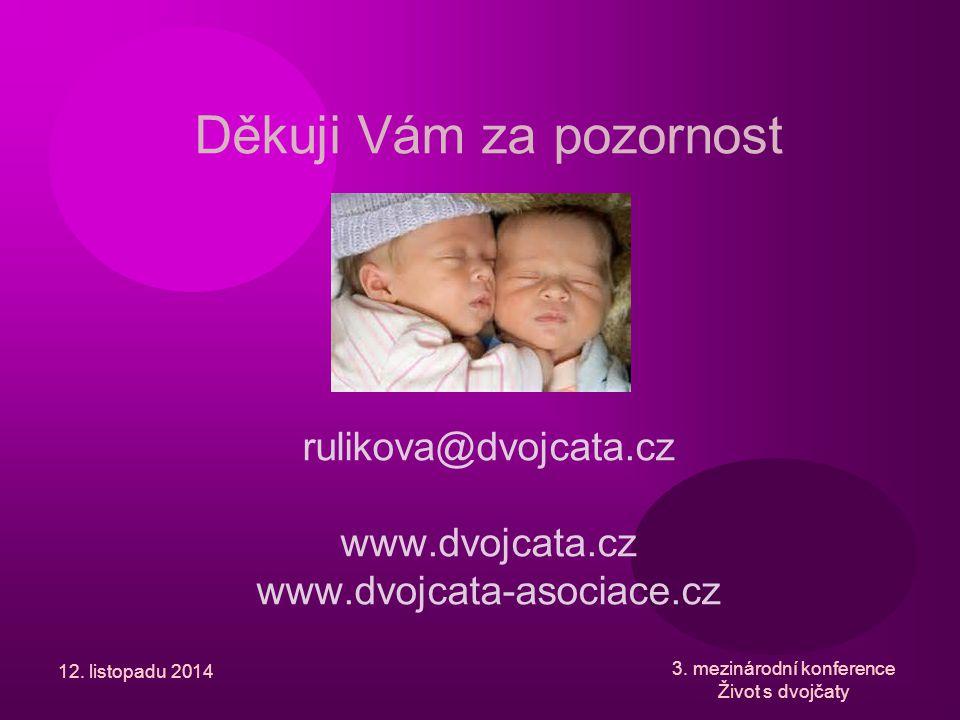 12. listopadu 2014 3. mezinárodní konference Život s dvojčaty Děkuji Vám za pozornost rulikova@dvojcata.cz www.dvojcata.cz www.dvojcata-asociace.cz