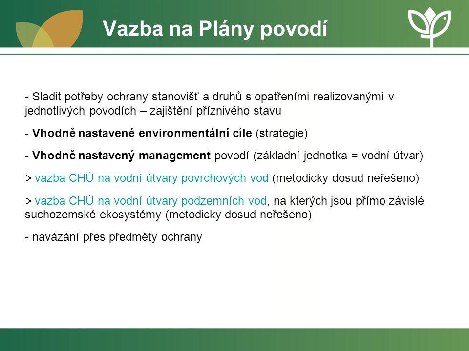 Vazba na Plány povodí - Sladit potřeby ochrany stanovišť a druhů s opatřeními realizovanými v jednotlivých povodích – zajištění příznivého stavu - Vho