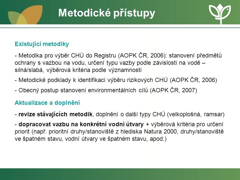 Stav Registru v zemích EU – Natura 2000 - provedena analýza ke zjištění rozsahu reportovaných údajů, které se vztahují k environmentálním cílům pro vodní útvary a údajů, které se vztahují k environmentálním cílům na vodu vázaných území soustavy Natura 2000, reportovaných prostřednictvím WISE v plánech oblastí povodí (2011) -chybějící data ve WISE (povinný reporting) -velké rozdíly v použitých způsobech hodnocení – obecně platí, že v rámci reportingu WISE nebyly pro území soustavy Natura 2000 uvedeny u žádného státu konkrétní cíle formou limitů nebo hodnot pro vybrané ukazatele nebo indikátory -nejasné metodické přístupy pro výběr lokalit do Registru (některé členské státy zařazují všechny) -neznámé přístupy k aktualizaci Registru (chybí metadata o aktualizacích) -neexistuje jednotný metodický návod ze strany EU