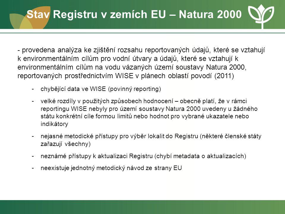 Stav Registru v zemích EU – Natura 2000 - provedena analýza ke zjištění rozsahu reportovaných údajů, které se vztahují k environmentálním cílům pro vo