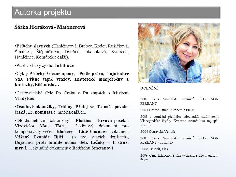 Autorka projektu Šárka Horáková - Maixnerová Příběhy slavných (Haničincová, Brabec, Kodet, Růžičková, Šimánek, Štěpničková, Dvořák, Jakoubková, Svoboda, Haničinec, Komárek a další).