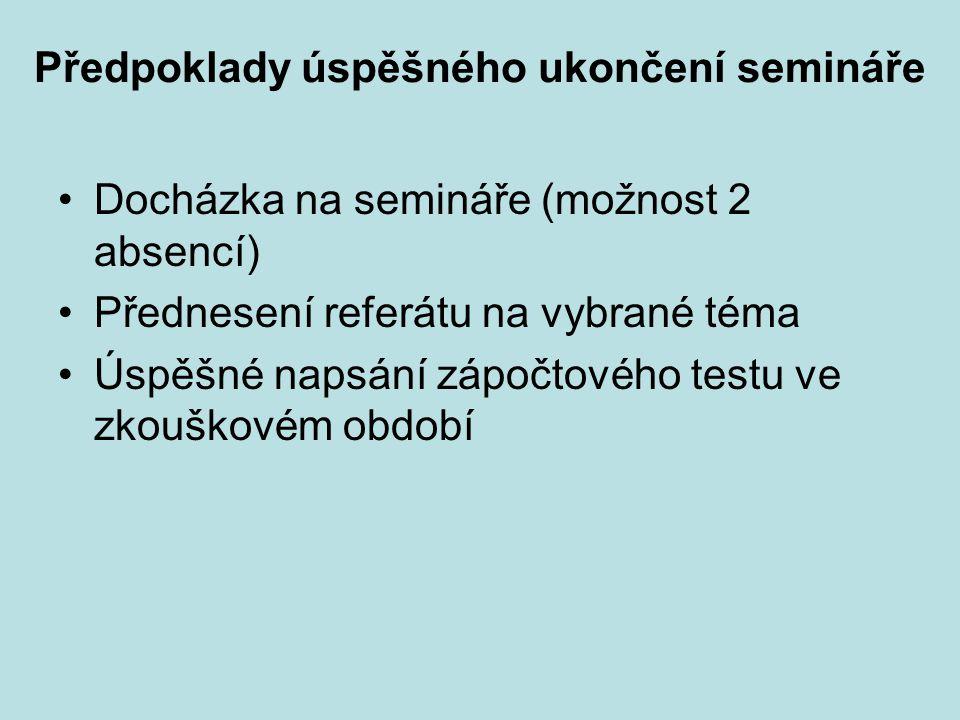 Předpoklady úspěšného ukončení semináře Docházka na semináře (možnost 2 absencí) Přednesení referátu na vybrané téma Úspěšné napsání zápočtového testu ve zkouškovém období