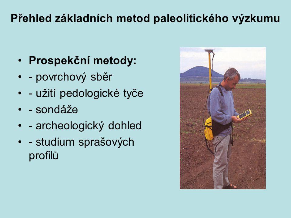 Přehled základních metod paleolitického výzkumu Prospekční metody: - povrchový sběr - užití pedologické tyče - sondáže - archeologický dohled - studium sprašových profilů