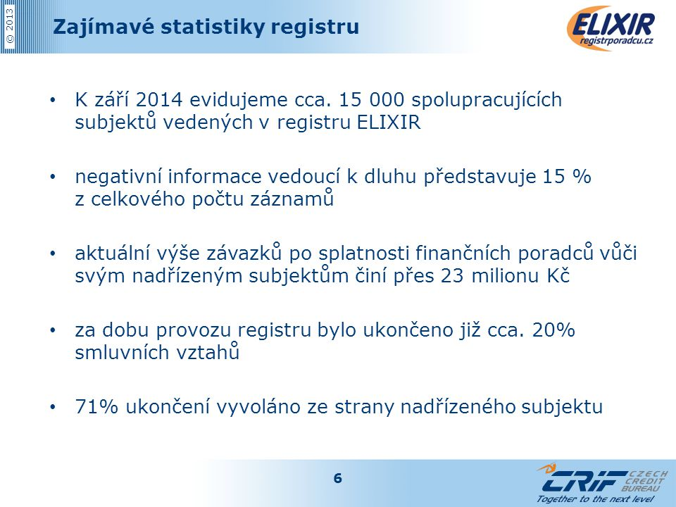 © 2013 Zajímavé statistiky registru K září 2014 evidujeme cca. 15 000 spolupracujících subjektů vedených v registru ELIXIR negativní informace vedoucí