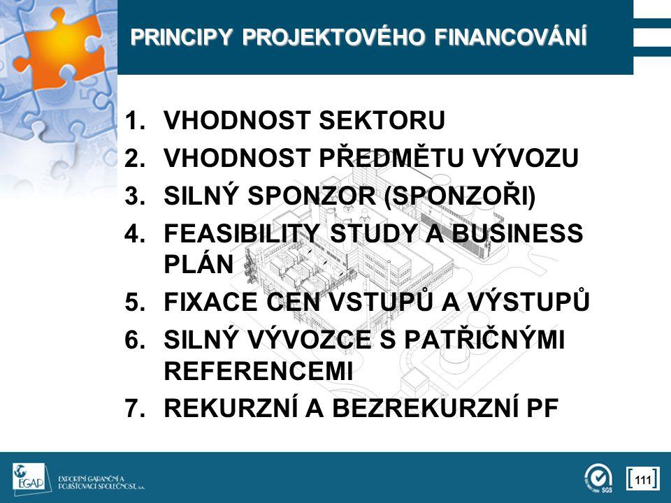 111 PRINCIPY PROJEKTOVÉHO FINANCOVÁNÍ 1.VHODNOST SEKTORU 2.VHODNOST PŘEDMĚTU VÝVOZU 3.SILNÝ SPONZOR (SPONZOŘI) 4.FEASIBILITY STUDY A BUSINESS PLÁN 5.F