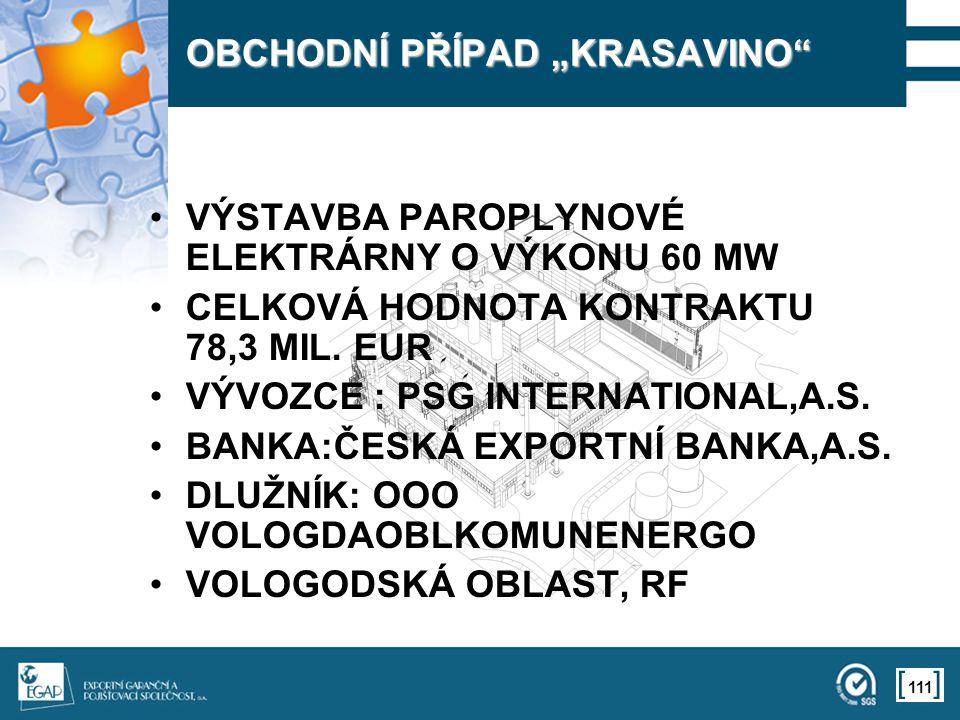 """111 OBCHODNÍ PŘÍPAD """"KRASAVINO"""" VÝSTAVBA PAROPLYNOVÉ ELEKTRÁRNY O VÝKONU 60 MW CELKOVÁ HODNOTA KONTRAKTU 78,3 MIL. EUR VÝVOZCE : PSG INTERNATIONAL,A.S"""