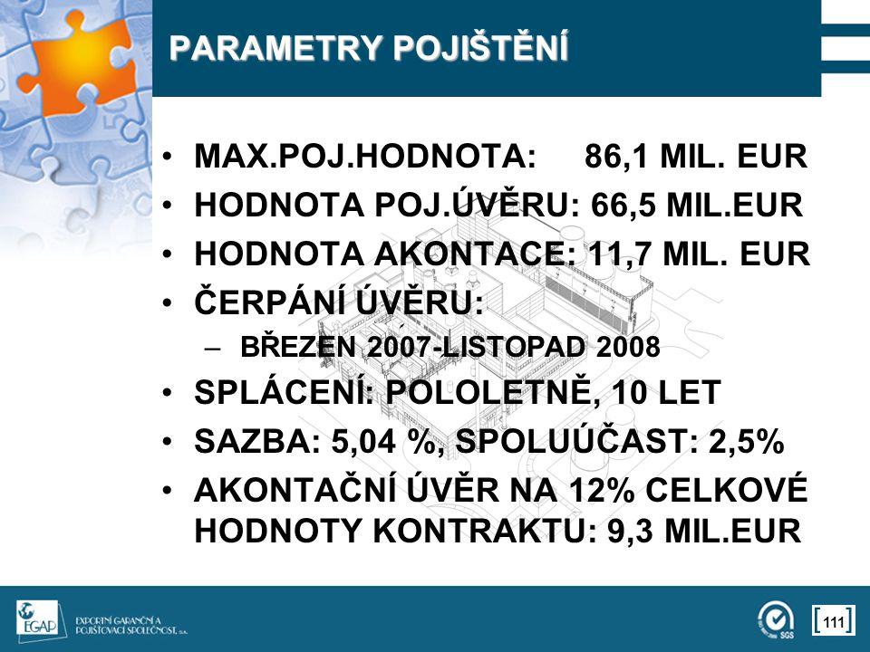 111 PARAMETRY POJIŠTĚNÍ MAX.POJ.HODNOTA: 86,1 MIL.