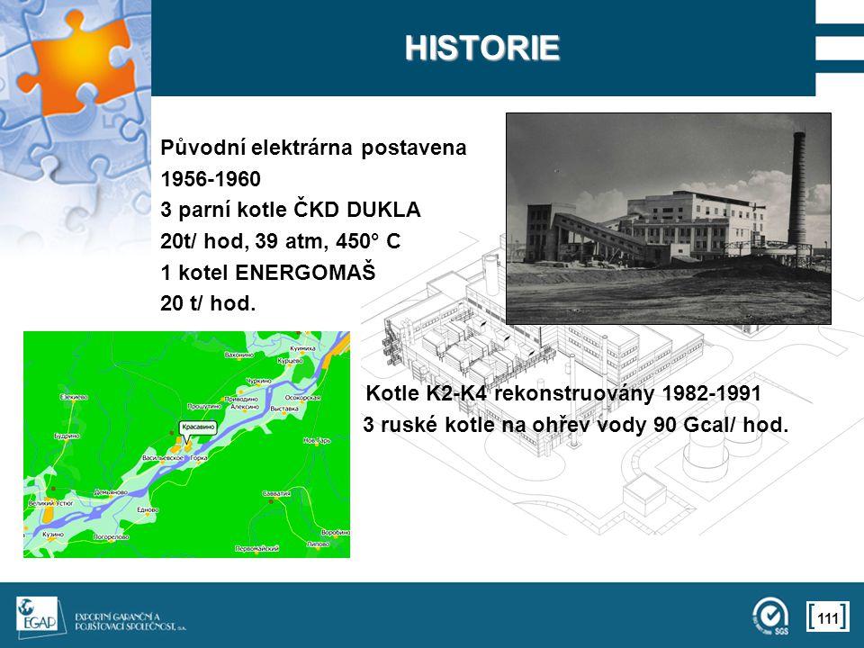 111 HISTORIE Původní elektrárna postavena 1956-1960 3 parní kotle ČKD DUKLA 20t/ hod, 39 atm, 450° C 1 kotel ENERGOMAŠ 20 t/ hod. Kotle K2-K4 rekonstr