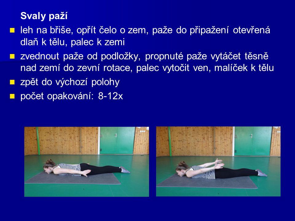 Svaly paží leh na břiše, opřít čelo o zem, paže do připažení otevřená dlaň k tělu, palec k zemi zvednout paže od podložky, propnuté paže vytáčet těsně nad zemí do zevní rotace, palec vytočit ven, malíček k tělu zpět do výchozí polohy počet opakování: 8-12x