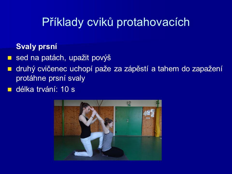 Příklady cviků protahovacích Svaly prsní sed na patách, upažit povýš druhý cvičenec uchopí paže za zápěstí a tahem do zapažení protáhne prsní svaly délka trvání: 10 s