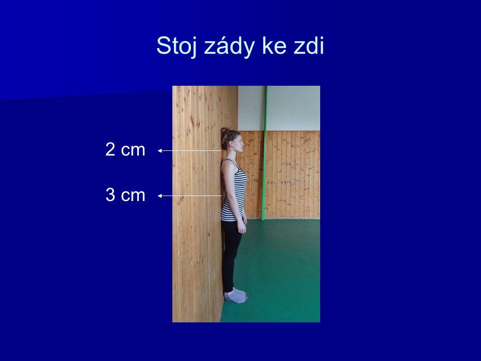 Jak správně stát Stoj provedený v postoji zády ke zdi: Dolní končetiny jsou stejně zatížené, špičky chodidel svírají úhel 30º, pánev je klopena mírně vpřed, hrudník a ramena rozložit do šířky, ramena uvolněna.