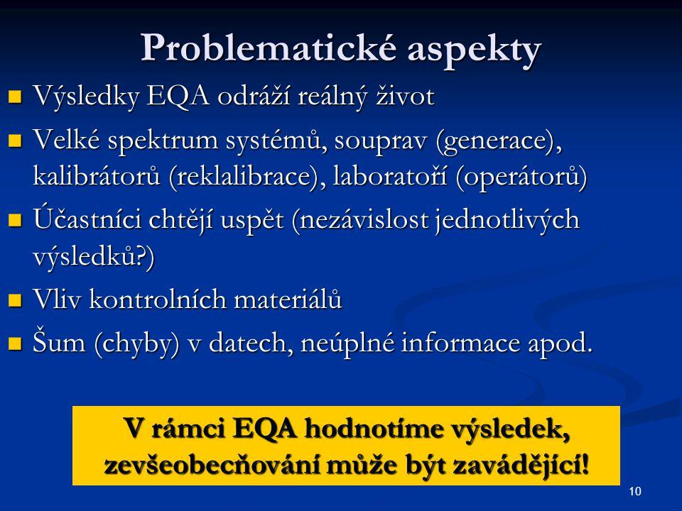 10 Problematické aspekty Výsledky EQA odráží reálný život Výsledky EQA odráží reálný život Velké spektrum systémů, souprav (generace), kalibrátorů (re