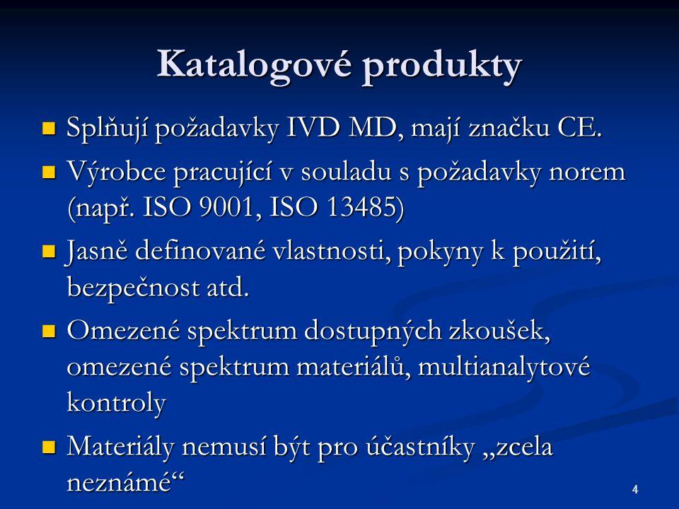 4 Katalogové produkty Splňují požadavky IVD MD, mají značku CE. Splňují požadavky IVD MD, mají značku CE. Výrobce pracující v souladu s požadavky nore