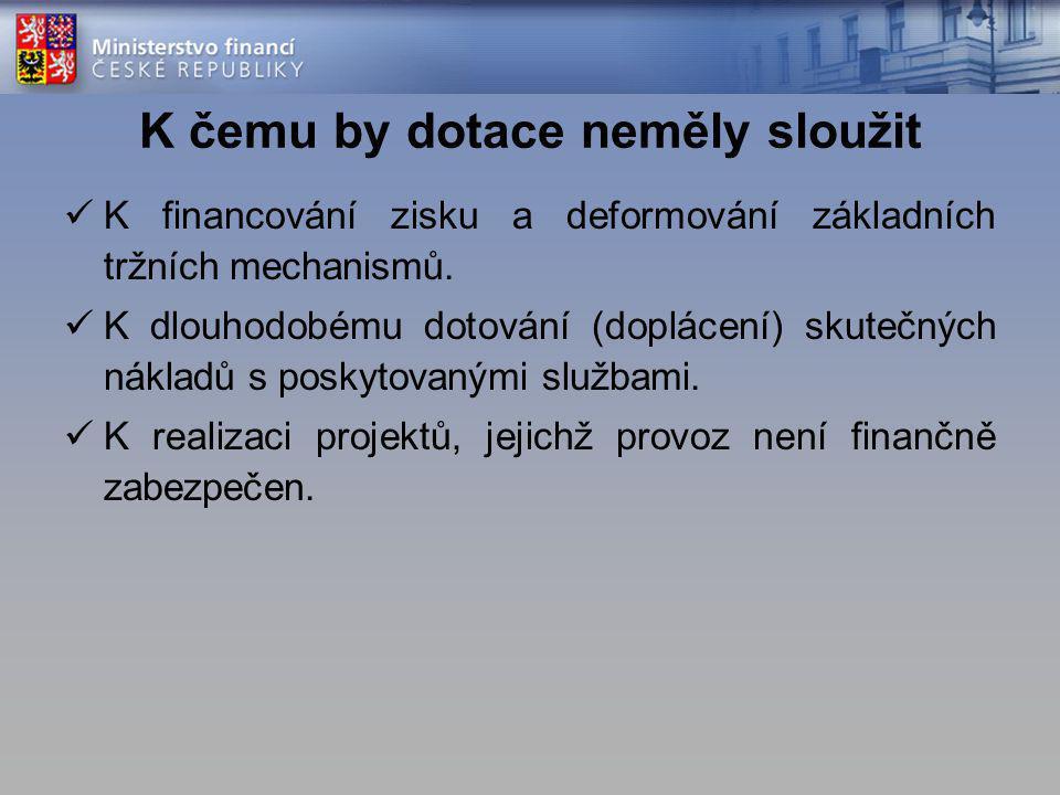 K čemu by dotace neměly sloužit K financování zisku a deformování základních tržních mechanismů. K dlouhodobému dotování (doplácení) skutečných náklad