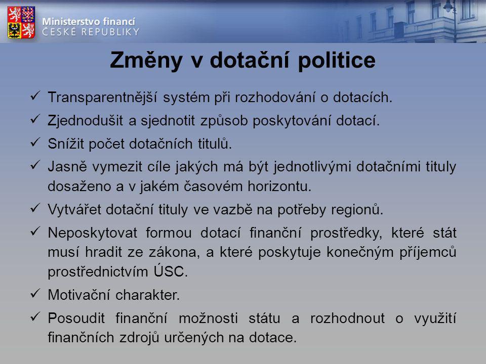Změny v dotační politice Transparentnější systém při rozhodování o dotacích.