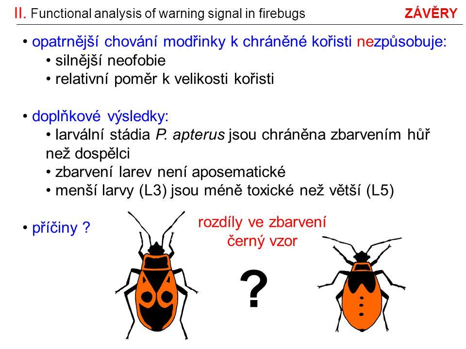 II. Functional analysis of warning signal in firebugs ZÁVĚRY opatrnější chování modřinky k chráněné kořisti nezpůsobuje: silnější neofobie relativní p