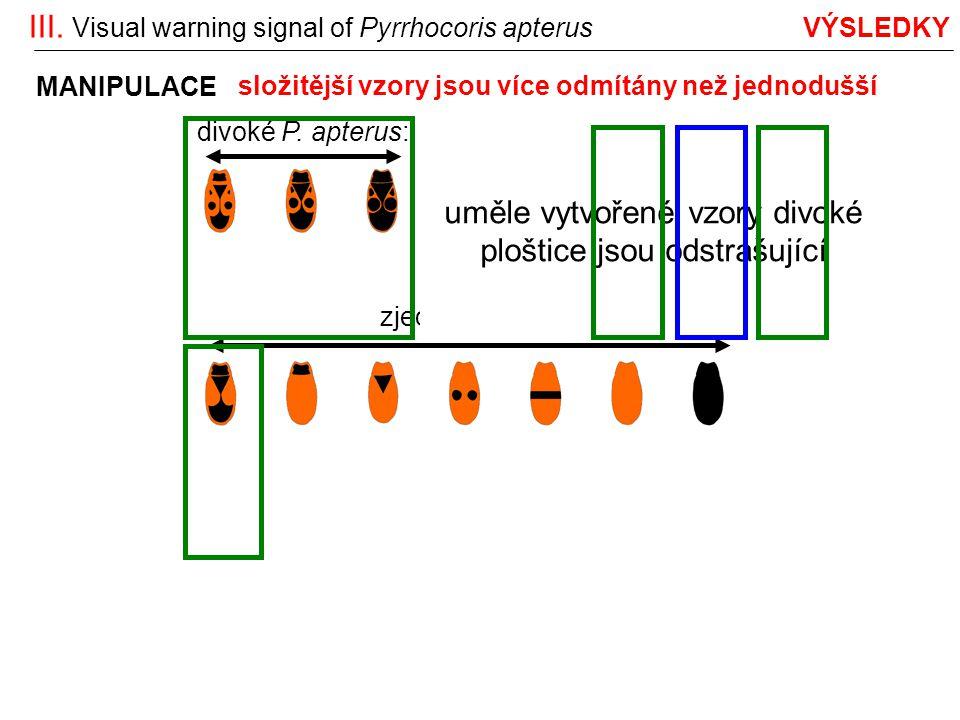 III. Visual warning signal of Pyrrhocoris apterus VÝSLEDKY divoké P. apterus:reorganizované: zjednodušované: MANIPULACE uměle vytvořené vzory divoké p